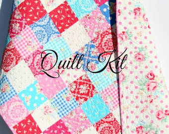 Organic quilt kit camp sur fox birch fabrics cheater patchwork baby girl quilt kit flower sugar fall 2015 lecien fabrics blue pink aqua solutioingenieria Images