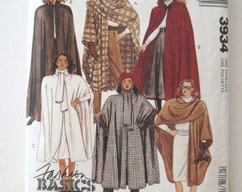 1980s Cape Pattern, McCalls 3934, Womens Long or Short Hooded or Tie Collar Cape, Stole Pattern, One Size 6-20, Bust 30-42