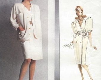 80s Nina Ricci Womens Unlined Jacket & Double Breasted Dress Vogue Sewing Pattern 2130 Size 14 Bust 36 UnCut Vogue Paris Original Patterns