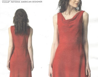 DKNY Womens Bias Front Bodice Dress OOP Vogue Sewing Pattern V1351 Size 6 8 10 12 14 Bust 30 1/2 to 36 UnCut Vogue Patterns