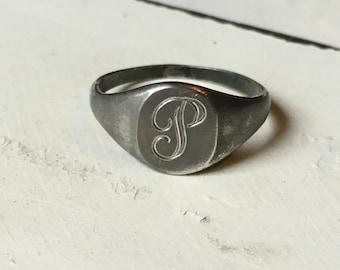 "Vintage Sterling Silver ""P"" Monogram Ring. Sterling Silver ""P"" Initial Ring. Monogram Ring. Signet Ring. Letter ""P"" Ring - Size 6.25"