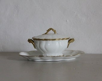 French Antique Sauce Bowl With Lid, Sauce Boat Limoges