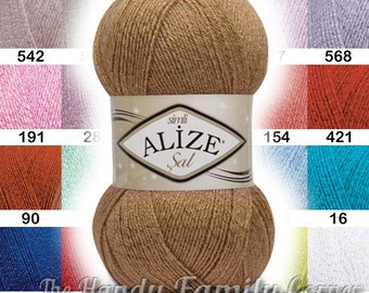 5 skein lot: Alize Sal Simli metal thread yarn Sparkle glitter soft glitz yarn Hypoallergenic knit supplies crochet top Color variations DSH
