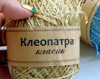 Glitter Yarn Kleopatra. Shine, sparkle yarn color yellow gold (03) metal yarn lame Viscose metal yarn Crochet top summer knits lace. DSH(P5)