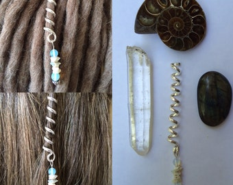 Beautiful opal hair dread twist with moonstone
