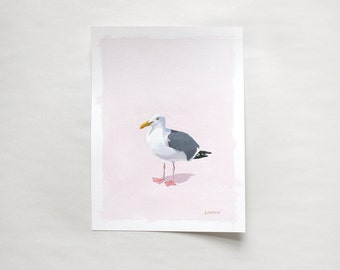 "5x7"" bird painting - ""Seagull 16"""