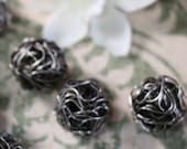 6 Vintage Silver Wrapped Wire Beads