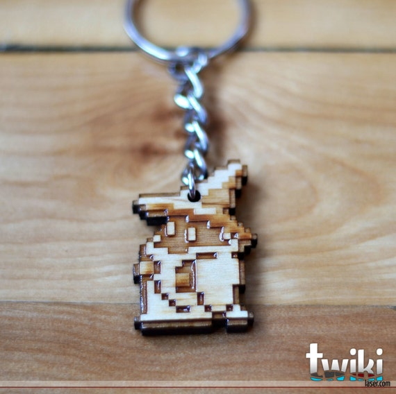 8 bit Black Mage Keychain OR Black Mage Charm Accessory - Wood Black Mage keychain, wood Black Mage charm, final fantasy 3, stocking stuffer