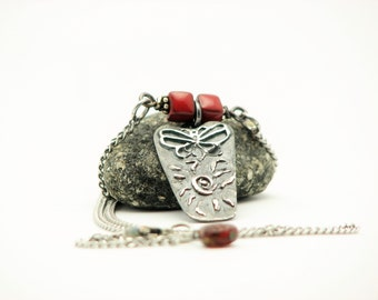 Silver Butterfly Necklace Handmade Rustic Jewlery Metal Work Nature Necklace Earth Jewelry