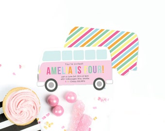 Girl Birthday Party INVITATION Pink Volkswagen Bus Van shape PRINTABLE DESIGN by Itsy Belle
