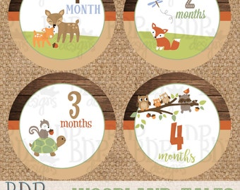 "Woodland Tales Echo Forest Friends Onesize Month Stickers - 4"" diameter - INSTANT DOWNLOAD"