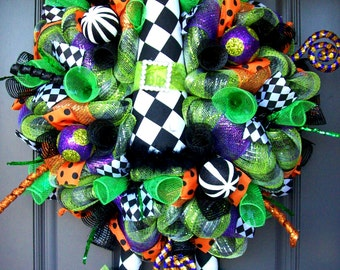 Whimsical Halloween Diamond Check Witch Hat and Boots Wreath