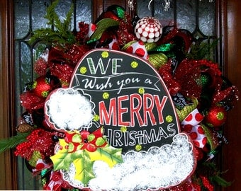 Merry Christmas Chalkboard Santa Hat Wreath, Whimsical Christmas Wreath, Christmas wreath, deco mesh wreath, wreath, Christmas decorations