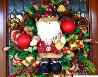 Lodge Santa Christmas Wreath