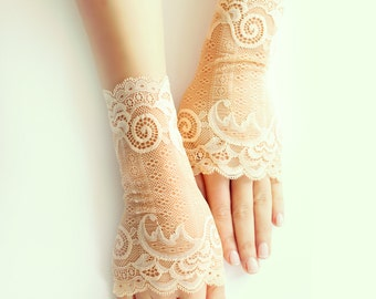 bridal lace gloves, caramel short gloves, fingerless gloves free shipping