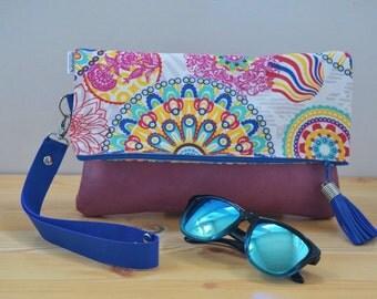 Pink leather bag,pink leather handbag,foldover clutch,mandala handbag,mandala pink purse,pink purse bag,tassel handbag,foldover handbag