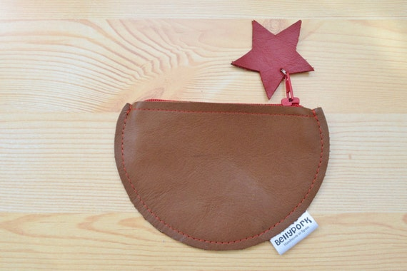 Coin purse,leather coin purse,circle coin purse,stars coin purse,stars purse,brown wallet,leather wallet,brown coin purse,womens coin purse