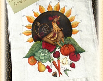 E PATTERN - Off to Market with Rooster, Veggies & Fruit - Designed and Painted by Sharon Bond - FAAP