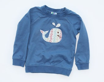 Baby Whale Shirt. Organic Long Sleeve Raglan Tee with Handmade Whale Appliqué- Gift for 0 3 6 12 18 months- Baby Clothes. Baby Shirt