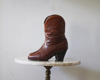 Ankle Boots High Heeled - 6 6.5 Women's - Cowboy Brown Leather - 1980s Vintage