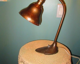 Art Deco Industrial Desk Lamp / 1930s Office Lamp Metal Swivelier Lamp