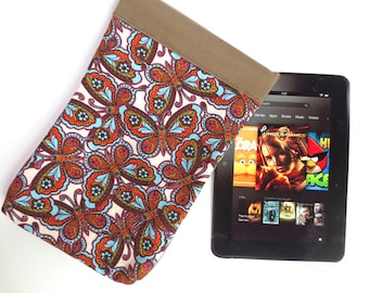 Retro Butterfly Tablet Sleeve with Soft Cotton Lining, fits iPad Mini, 7 inch Kindle, Nook Color, more