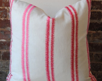 SALE! Paloma Stripe Pillow Cover - Peony - decorator pillow - designer pillow