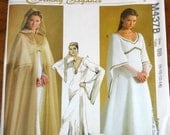 McCall's 4378 Renaissance Gown, Cape, Empire Maxi Dress with Train, Womens Misses Sewing Pattern Size 8-14 Bust 31-36 Uncut Factory Folds