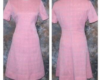 1960s Pink Dress Summer Dress Pink Scooter Dress 1960s Pink Dress Short Sleeve Dress Spring Dress Pink & Silver Dress Short Pink Dress