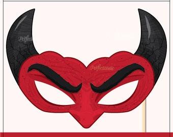 DIY Devil Mask Prop Glasses | Printable Halloween Prop | DIY Halloween Props | Instant Download | Photo-Booth Clipart