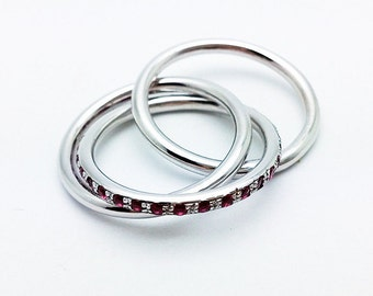 Fine Jewelry, 14K White Gold Russian Wedding Ring, Handmade Interlocked Ring with Rubies, Aneversary  Rolling Ring