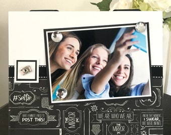 "Post This Selfie bestie teen girl gift college dorm decor magnetic picture frame holds 5"" x 7"" photo 9"" x 11"" size"
