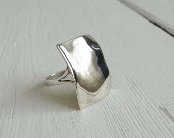 Silver square ring big ring