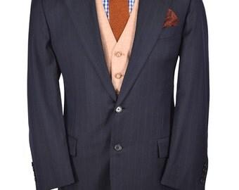 40S Barneys New York Hickey Freeman Navy Blue Pinstripe Super 110's Italian Designer Wool Blazer