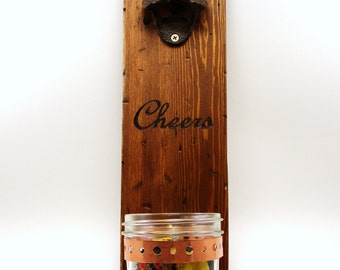 wall mount bottle opener cast iron Cheers distressed wood mason jar cap catcher