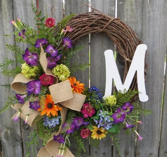 Front Door Wreath, Door Wreath, Spring Wreath, Summer Wreath, Wreath, Monogram Wreath, Burlap Bow, Burlap Wreath, Gift Wreath