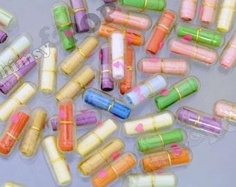 Clear Secret Love Note, Transparent Wish Pill Faux Capsule, Love Note, Note in a Bottle, 20mm x 7mm (R6-009)