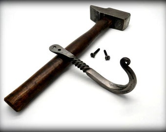 FORGED HOOK with Decorative Twist by Blacksmith Naz - Traditional & Elegant - Screws Included
