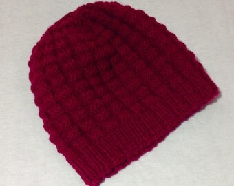 Unisex pure wool hand knitted hat / beanie