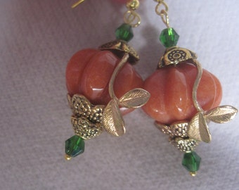 Orange Coral with Gold Vines and Faceted Green Swarovski Crystals Earrings