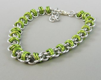 Barrel Weave Chainmail Bracelet, Lime Green Chainmaille Bracelet, Chain Mail Jewelry, Green Bracelet