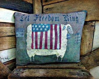 Primitive Sheep Pillow   Americana  Sheep Pillow   Folk Art Sheep Pillow   Patroitic Sheep Pillow    Sheep decor   4th of July