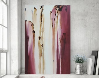 Dusty Rose Plum Purple Painting on Canvas Abstract Painting  Large Original Painting Modern Painting 36x24 Heather Day #1