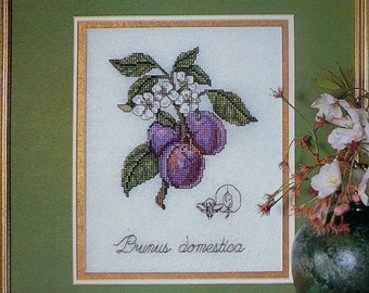 Donna Yuen Botanical Fruit THE REGAL PLUM Counted Cross Stitch Pattern Chart - fam
