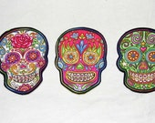 Day of the Dead Sugar Skull DIY  Iron On Fabric Cotton Appliques Set of 3  No Sew Patches