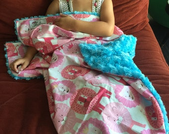 """Adorable Pink Lions Turquoise Minky Baby Blanket: """"Riley's Roar"""""""