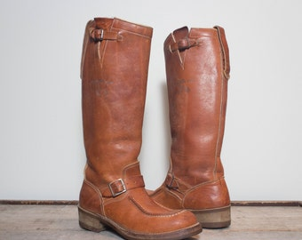 9 D | Men's All Leather Snake Boots Brown Engineer Boots