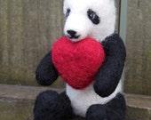 Ready to Ship Valentine Panda Bear / Needle Felted Panda with Heart / Wool Animal Figurine / Waldorf Soft Toy