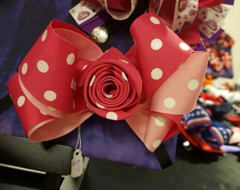 """5.5"""" Rosebud Style Stacked Boutique Bow"""