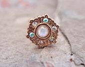 14kt Rose Gold Ornate AB Gem Glitter Opal Top